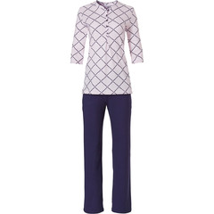 Pastunette dames pyjama met driekwart mouwtje en knoopjes 'symmetrical block of diamonds'