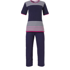 Pastunette short sleeve ladies pyjama with 3/4 pants 'horizontal eden stripes'