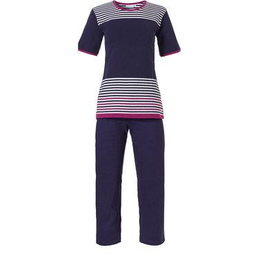 Pastunette pyjama voor dames met korte mouwen en 3/4e broek 'horizontal eden stripes'