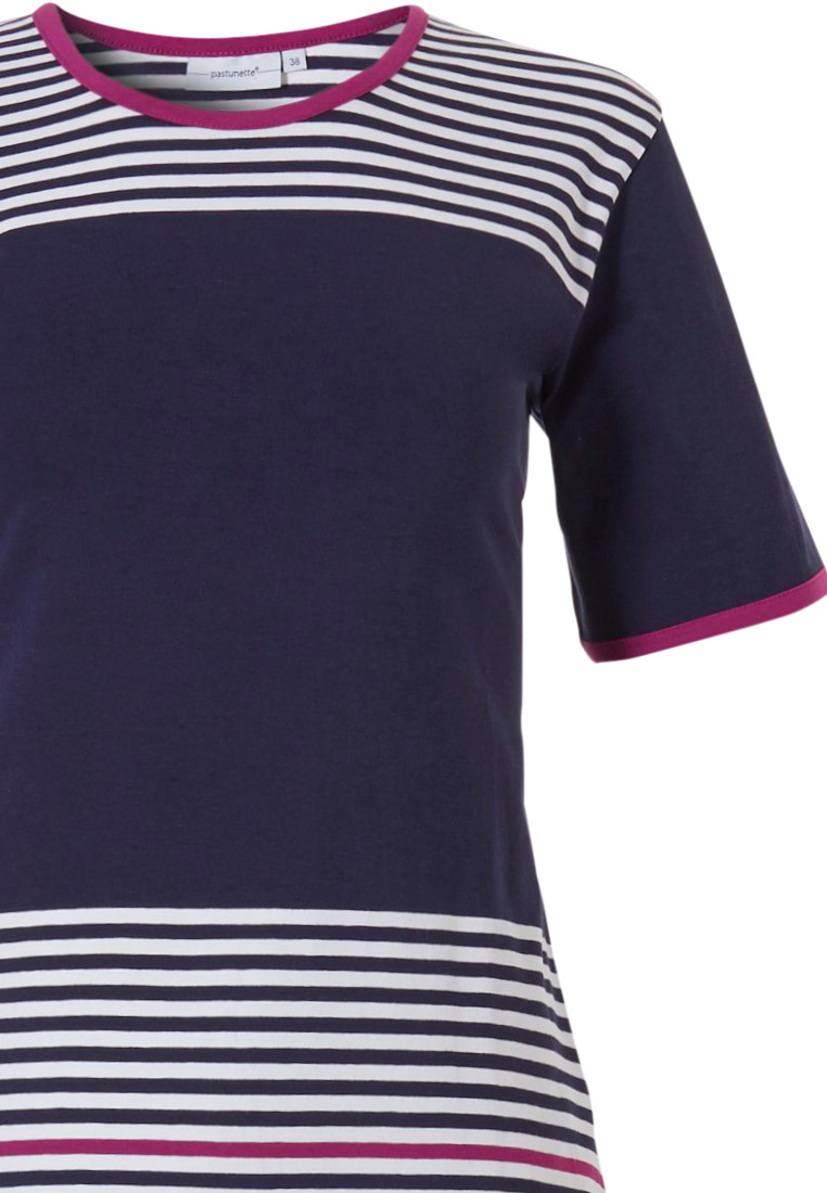 Pastunette 'horizontal eden stripes' short sleeve navy blue & deep fuschia pink ladies pyjama with capri pants