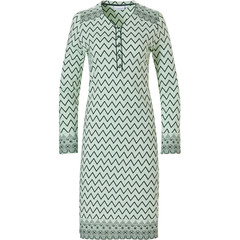 Pastunette long sleeve green nightdress with buttons 'soft & pure patterned lines'