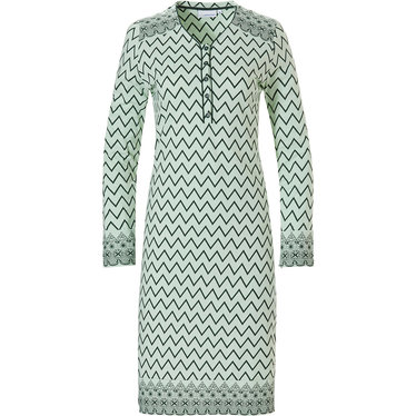 Pastunette 'soft & pure zig zag lines', ladies light green & grey long sleeve cotton nightdress with 5 buttons