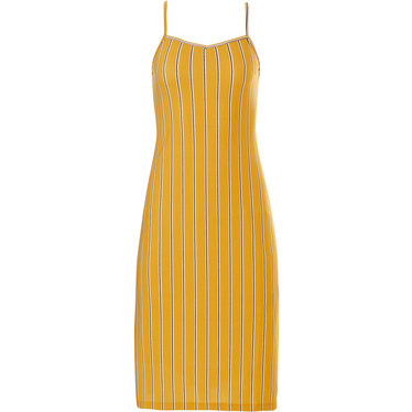 Pastunette Beach 'sunshine stripes' yellow ochre fashionably striped beach dress with adjustable straps