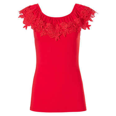 Pastunette Beach 'floral lace'pure red sleeveless ladies off the shoulder ladies Mix & Match top with floral lace volant edge