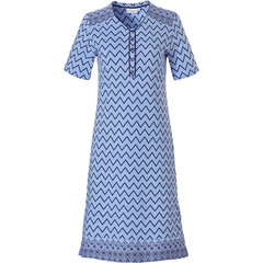 Pastunette short sleeve blue cotton nightdress with buttons 'soft & pure patterned lines'