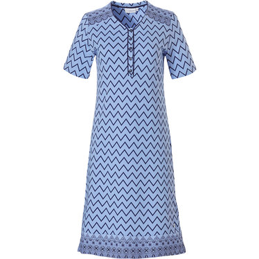 Pastunette 'soft & pure zig zag lines' ladies light blue & grey short sleeve cotton nightdress with 5 buttons