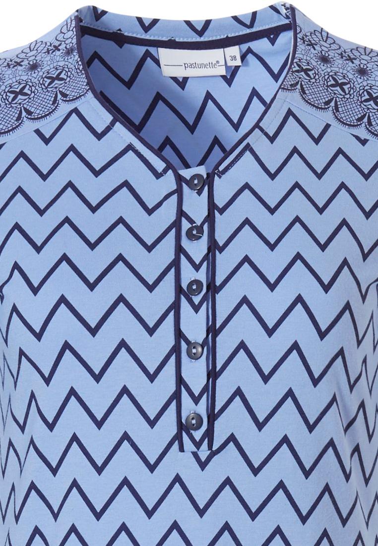 Pastunette blauw, katoenen, nachthemd met korte mouwen en knoopjes 'soft & pure patterned lines'