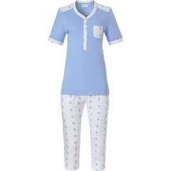 Pastunette short sleeve organic cotton, light blue 3/4 pyjama set with buttons 'pretty fine dots & circles'