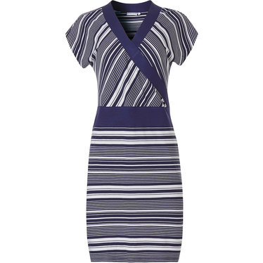 Pastunette Beach 'coded lines' sleeveless dark blue & pure white ladies fashionable beach dress with dark blue waistband and modern wrap-over style closure