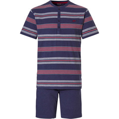 Pastunette for Men mens shorty set with buttons 'Ocean Life, marine stripes'