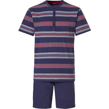 Pastunette for Men heren shortama met knoopjes 'Ocean Life, marine stripes'
