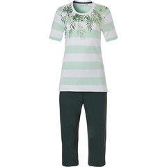 Pastunette organisch katoenen dames pyjama met korte mouwen en 3/4e broek 'dream jungle paradise & horizontal stripes'
