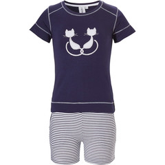 Rebelle Girls girls short sleeve cotton shorty set Purrrfectly in love pussycats'