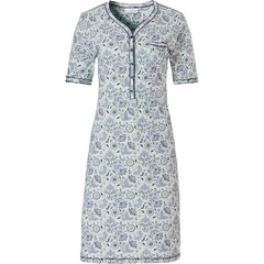 Pastunette ladies short sleeve cotton classic nightdress with buttons 'floral delight'