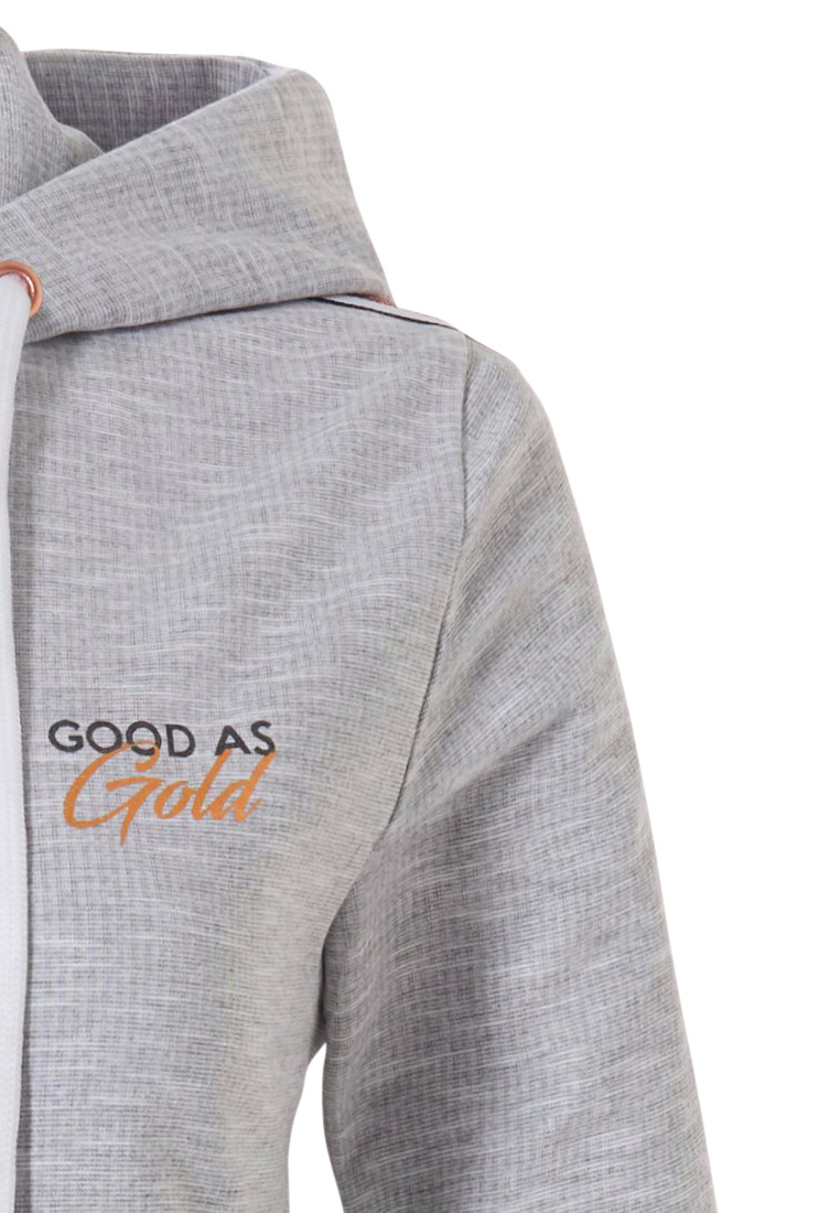 Rebelle  'Good as Gold' ladies light grey Mix & Match Summer hoody with zip and trendy gold stripe