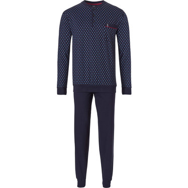 Robson 'diamond zig zag lines' men's fresh blue & light blue & long sleeve cotton pyjama set with 3 buttons, chest pocket and long dark blue cotton pants with cuffs