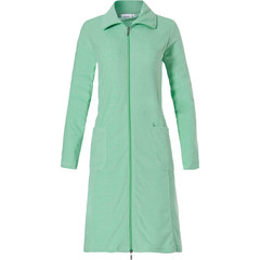 Pastunette ladies lightweight green terry bathrobe with zip & collar
