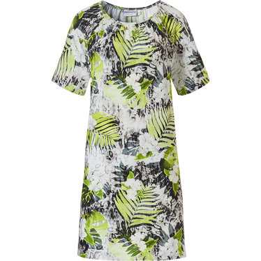 Pastunette Beach 'floral jungle' green, white & black short sleeve  beach dress with an all over leaf & flower pattern with a hint of animal print
