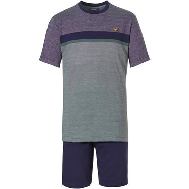 Pastunette for Men ''City Life, cool little yellow shark' pale bordeuaux & green mens cotton shorty set with a 'cool little yellow shark' embroidered on the front and dark blue shorts