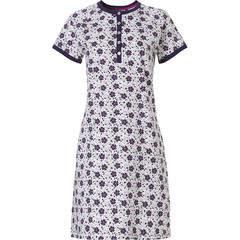 Pastunette short sleeve ladies nightdress with 5 buttons 'bold & beautiful little flowers'