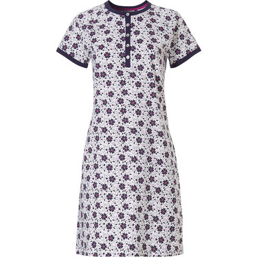 Pastunette 'bold & beautiful little flowers' white, dark blue and fuschia cotton-elastane ladies short sleeve ladies nightdress with 5 buttons and dark blue bold trim detailing