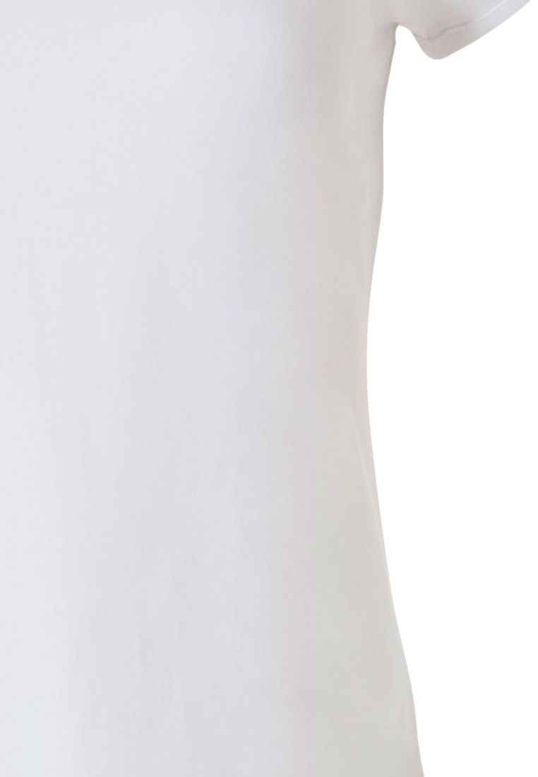 Pastunette ladies pure white short sleeve top with round neck , t-shirt style with little flower print and decorative shoulder button detail