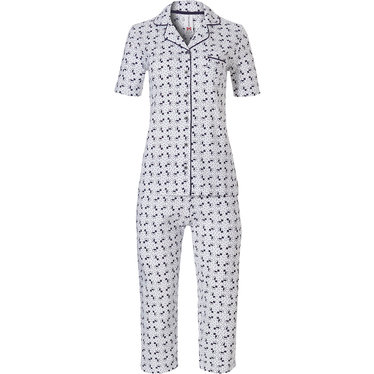 Rebelle full button, short sleeve, cotton pyjama with capri pants