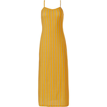 Pastunette Beach 'sunshine stripes' yellow ochre fashionably striped, long beach dress with adjustable straps
