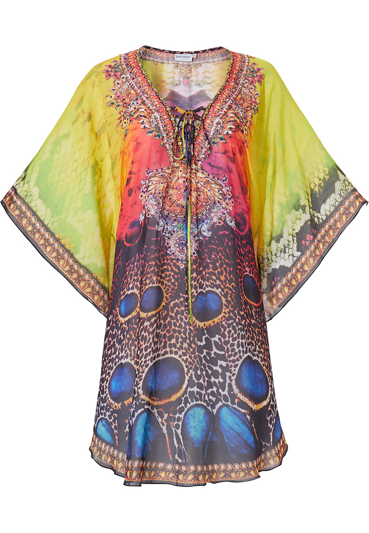 Pastunette Beach 'peacock sunshine passion' Summer yellow & orange beach kaftan with short sleeves and front tie