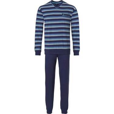 Robson 'sporty stripes' fresh blue & light blue long sleeve men's cotton pyjama set with stripes, 3 buttons, chest pocket and long dark blue cotton pants with cuffs