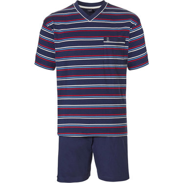 Robson 'sporty fine stripes' dark blue men scotton shorty set with red, white & blue stripes, chest pocket and dark blue cotton elasticated shorts