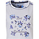 Pastunette 'stripes & little blue blossom' ladies short sleeve light blue & pure white cotton striped nightdress with floral 'Lost Pradise text picture detail and floral back