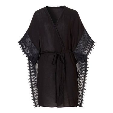 Pastunette Beach Pastunette Beach black wrap-over style cover-up with tie-waist and pretty embroidered crochet tassles