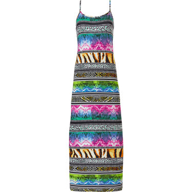 Pastunette Beach 'hint of animal instincts' pink, green & black long spaghetti beach dress with adjustable straps and a mixture of animal print patterns
