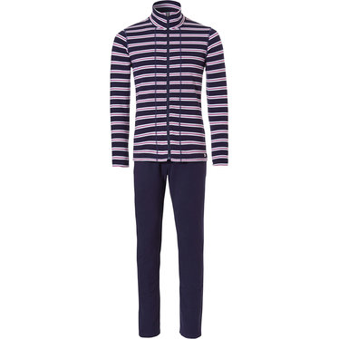 Pastunette horizontal eden stripes' navy blue, white & deep fuschia pink ladies terry Summer homesuit with full zip and long, navy blue pants