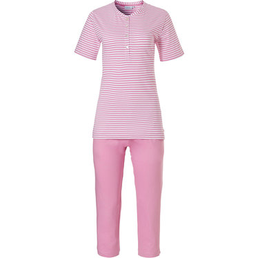 Pastunette 'pretty fine stripes' short sleeve, pale pink & white organic cotton stripey Summer pyjama set with 4 buttons and pink 3/4 pants
