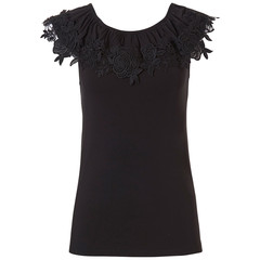 Pastunette Beach off-shoulder black Mix & Match beach top  with 'floral lace'