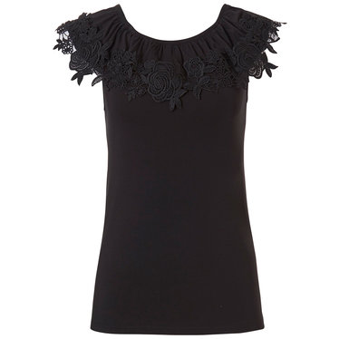 Pastunette Beach 'floral lace' black sleeveless ladies off the shoulder ladies Mix & Match top with floral lace volant edge