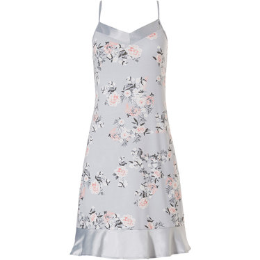 Pastunette Deluxe 'beautiful spring blossom' light silver blue ladies luxury spaghetti dress with adjustable straps and pretty little frill along hem