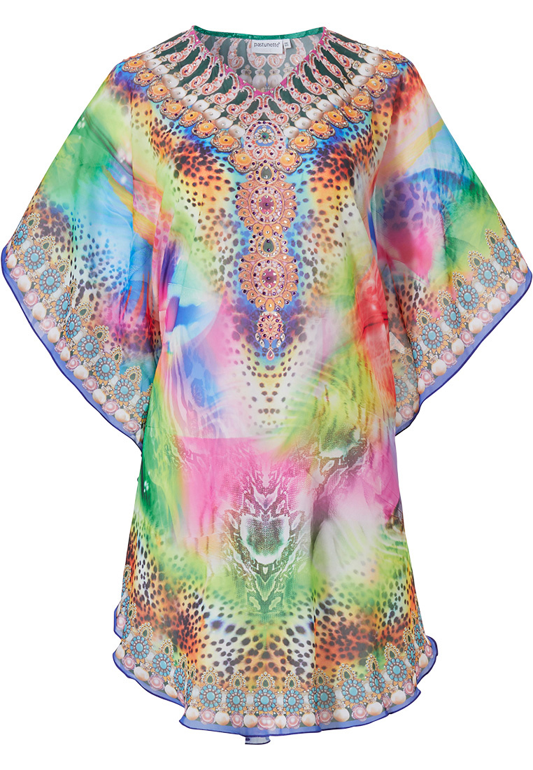 Pastunette Beach '70's fashion jewel passion' multicolour & hippie pink beach poncho style kaftan with short sleeves and animal print