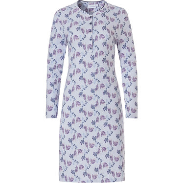 Pastunette 'floral fancy' long sleeve light blue & purple, ladies  cotton nightdress with  5 buttons