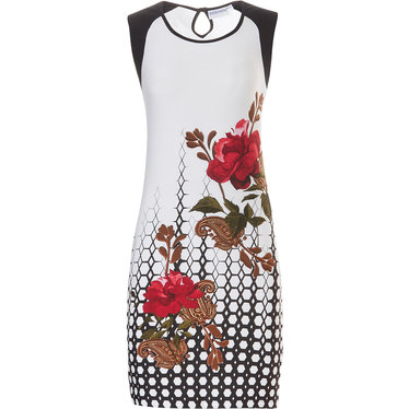 Pastunette Beach 'ring of roses' white & black sleeveless beach dress with loop whole button neck fastening  and a beautiful pattern of open red roses on it