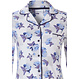 Pastunette 'little blue blossom' 3/4 light blue & pure white full button, beautiful floral, cotton pyjama with chest pocket and matching 7/8 pants
