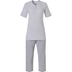Pastunette short sleeve organic cotton stripey 3/4 pyjama set with buttons 'pretty fine stripes'