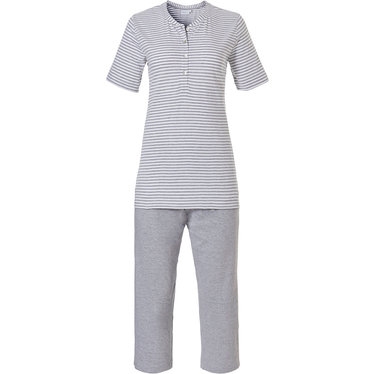 Pastunette 'pretty fine stripes' short sleeve mid grey & white organic cotton, stripey Summer pyjama set with 4 buttons and grey 3/4 pants