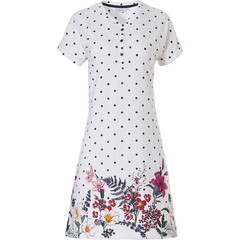 Pastunette ladies short sleeve cotton nightdress with buttons 'dots & pretty garden flowers'