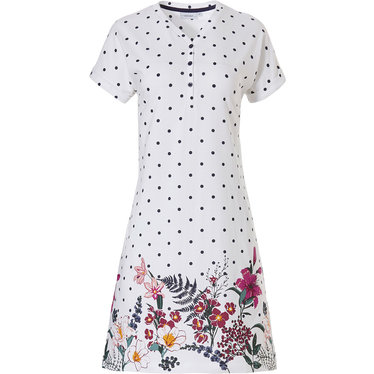 Pastunette 'dots & pretty garden flowers' ladies short-turned-up sleeve, pure white & dark blue dots, cotton nightdress with 3 buttons and 'pretty garden flowers' around the bottom hemiline