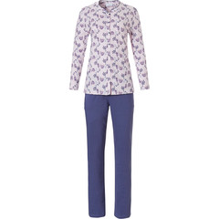 Pastunette long sleeve full button cotton classic pyjama 'floral delight'