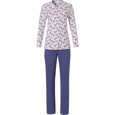 Pastunette 'floral fancy' long sleeve soft pink & purple, full button, cotton classic style ladies pyjama with long pants