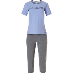 Rebelle short sleeve ladies pyjama with 3/4 pants 'NO LIMITS - sporty style'